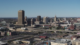 DX0002_201_010 - 5.7K stock footage aerial video of the city's skyline behind Sahlen Field, Downtown Buffalo, New York