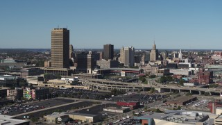 DX0002_201_011 - 5.7K stock footage aerial video slowly flyby the city's skyline behind Sahlen Field, Downtown Buffalo, New York
