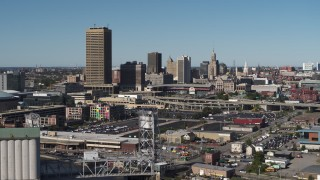 DX0002_201_012 - 5.7K stock footage aerial video slowly pass the city's skyline behind Sahlen Field, Downtown Buffalo, New York