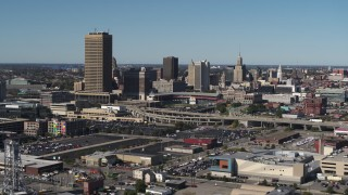 DX0002_201_013 - 5.7K stock footage aerial video a view of the city's skyline by Sahlen Field, Downtown Buffalo, New York