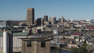 DX0002_201_014 - 5.7K stock footage aerial video a view of the city's skyline from the river, Downtown Buffalo, New York
