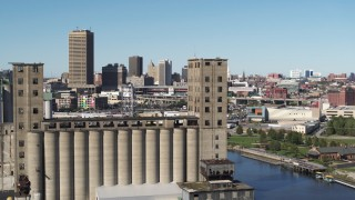 DX0002_201_020 - 5.7K stock footage aerial video of orbiting a grain elevator in Buffalo, New York