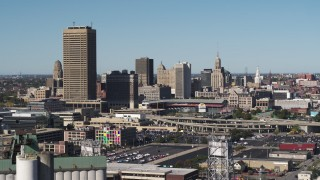 DX0002_201_029 - 5.7K stock footage aerial video of passing by the city's skyline behind Sahlen Field baseball stadium, Downtown Buffalo, New York