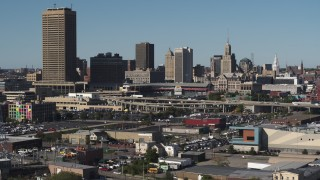 DX0002_201_040 - 5.7K stock footage aerial video of the baseball stadium and skyline in Downtown Buffalo, New York