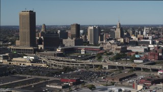 DX0002_201_042 - 5.7K stock footage aerial video stationary view of the baseball stadium and skyline in Downtown Buffalo, New York