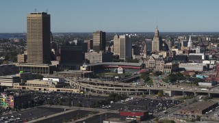 DX0002_201_043 - 5.7K stock footage aerial video slowly flying by the baseball stadium and skyline in Downtown Buffalo, New York