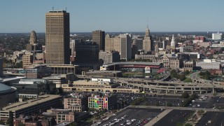 DX0002_201_044 - 5.7K stock footage aerial video slowly passing the baseball stadium and skyline in Downtown Buffalo, New York