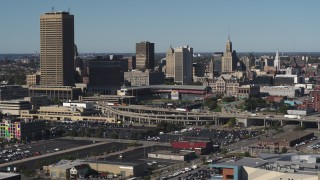 DX0002_201_045 - 5.7K stock footage aerial video the baseball stadium and skyline during descent in Downtown Buffalo, New York
