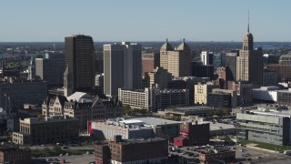 DX0002_202_004 - 5.7K stock footage aerial video of approaching office tower near Erie Community College, Downtown Buffalo, New York