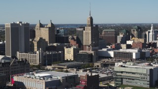 DX0002_202_005 - 5.7K stock footage aerial video of the Rand Building in Downtown Buffalo, New York