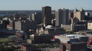 DX0002_202_007 - 5.7K stock footage aerial video of a reverse view of Erie Community College, Downtown Buffalo, New York