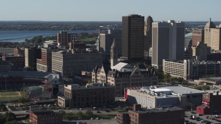 DX0002_202_009 - 5.7K stock footage aerial video of orbiting Erie Community College, Downtown Buffalo, New York