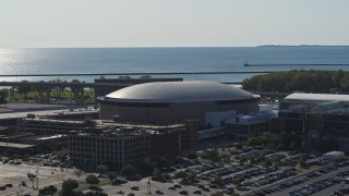 DX0002_202_010 - 5.7K stock footage aerial video of approaching KeyBank Center arena, Downtown Buffalo, New York
