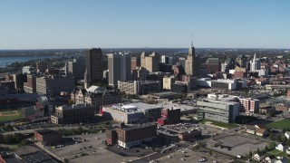 DX0002_202_015 - 5.7K stock footage aerial video reverse view of community college and office towers in Downtown Buffalo, New York
