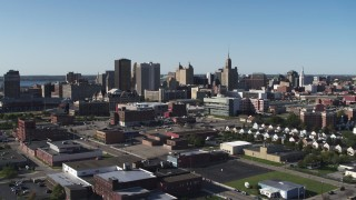 DX0002_202_016 - 5.7K stock footage aerial video descend and approach office towers in Downtown Buffalo, New York