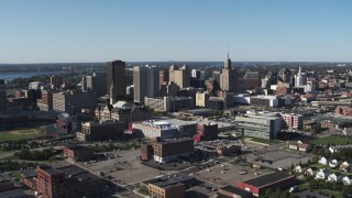 DX0002_202_019 - 5.7K stock footage aerial video of office towers near the community college, Downtown Buffalo, New York