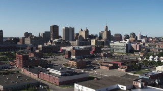 DX0002_202_020 - 5.7K stock footage aerial video of office towers near the community college while descending, Downtown Buffalo, New York