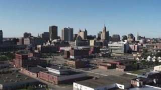 DX0002_202_021 - 5.7K stock footage aerial video ascending for a view of office towers near the community college, Downtown Buffalo, New York
