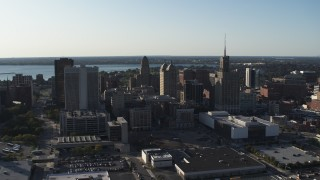 DX0002_203_003 - 5.7K stock footage aerial video of orbit and approach office towers in Downtown Buffalo, New York