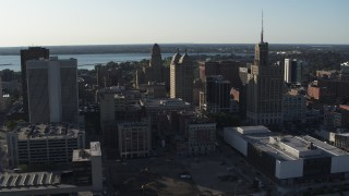 DX0002_203_004 - 5.7K stock footage aerial video of orbit and fly away from office towers in Downtown Buffalo, New York