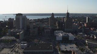 DX0002_203_005 - 5.7K stock footage aerial video of a trio of office towers in Downtown Buffalo, New York