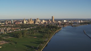 DX0002_203_018 - 5.7K stock footage aerial video of a wide view of the city skyline in Downtown Buffalo, New York