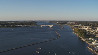 DX0002_203_020 - 5.7K stock footage aerial video a wide view of the Peace Bridge in Buffalo, New York