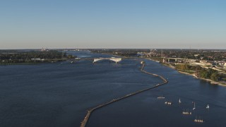DX0002_203_021 - 5.7K stock footage aerial video of the Peace Bridge in Buffalo, New York