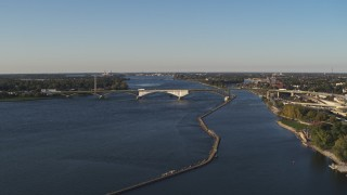 DX0002_203_022 - 5.7K stock footage aerial video approach and flyby the Peace Bridge in Buffalo, New York