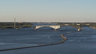 DX0002_203_026 - 5.7K stock footage aerial video of flying by the Peace Bridge in Buffalo, New York