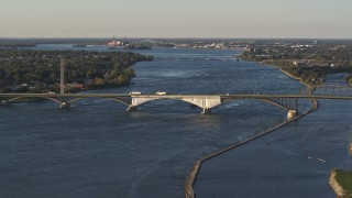 DX0002_203_028 - 5.7K stock footage aerial video of traffic crossing the Peace Bridge in Buffalo, New York