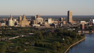 DX0002_203_031 - 5.7K stock footage aerial video of the city's skyline at sunset, Downtown Buffalo, New York