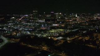DX0002_205_004 - 5.7K stock footage aerial video of the city skyline at night during descent, Downtown Buffalo, New York