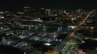 DX0002_205_010 - 5.7K stock footage aerial video of flying toward and past the skyline at night, Downtown Buffalo, New York