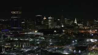 DX0002_205_026 - 5.7K stock footage aerial video of skyscraper and office towers at night, Downtown Buffalo, New York