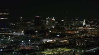 DX0002_205_029 - 5.7K stock footage aerial video of descending past office towers at night, Downtown Buffalo, New York