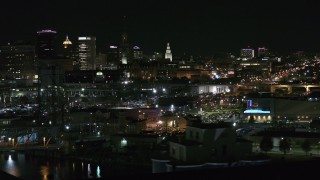 DX0002_205_031 - 5.7K stock footage aerial video of a view of office towers an city buildings at night, Downtown Buffalo, New York