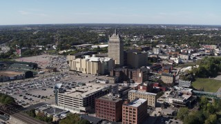 DX0002_206_022 - 5.7K stock footage aerial video flying toward Kodak Tower and Monroe Community College, Rochester, New York