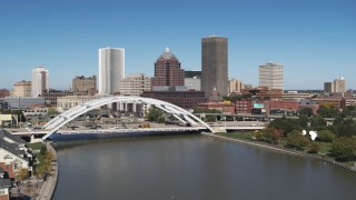 DX0002_207_023 - 5.7K stock footage aerial video approach the skyline and Douglass-Anthony Bridge in Downtown Rochester, New York