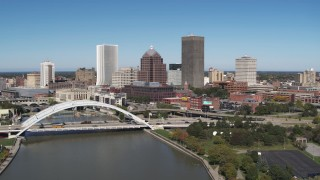 DX0002_207_025 - 5.7K stock footage aerial video slowly fly away from the skyline and Douglass-Anthony Bridge, Downtown Rochester, New York