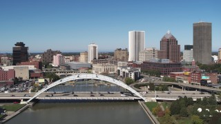 DX0002_207_032 - 5.7K stock footage aerial video fly over the Douglass-Anthony Bridge and past the skyline, Downtown Rochester, New York