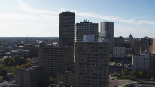 DX0002_208_003 - 5.7K stock footage aerial video stationary view of Xerox Tower and Five Star Bank Plaza in Downtown Rochester, New York