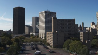 DX0002_208_010 - 5.7K stock footage aerial video Xerox Tower, Five Star Bank Plaza and apartment complex in Downtown Rochester, New York