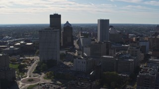 DX0002_208_012 - 5.7K stock footage aerial video ascend and fly away from the city skyline, Downtown Rochester, New York