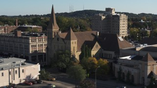 DX0002_208_023 - 5.7K stock footage aerial video of orbiting a church in Rochester, New York