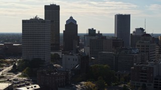 DX0002_208_030 - 5.7K stock footage aerial video of skyscrapers and office towers in Downtown Rochester, New York