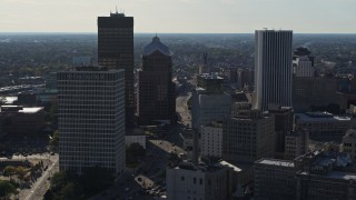 DX0002_208_032 - 5.7K stock footage aerial video of flying by skyscrapers and office towers in Downtown Rochester, New York