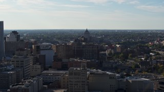 DX0002_208_035 - 5.7K stock footage aerial video wide view of Kodak Tower seen from Downtown Rochester, New York