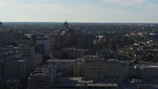 DX0002_208_037 - 5.7K stock footage aerial video wide view of Temple Building in Downtown Rochester, New York