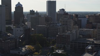 DX0002_208_039 - 5.7K stock footage aerial video orbit apartment building in Downtown Rochester, New York